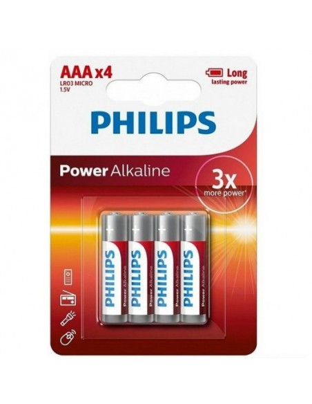 Philips Power Alkaline Pilas Alcalinas AAA LR03 1.5V Pack 4 Unidades