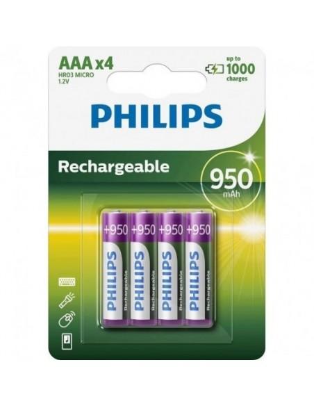 Philips R03B4A95/10 Pilas Recargables 950mAh AAA HR03 4 Unidades