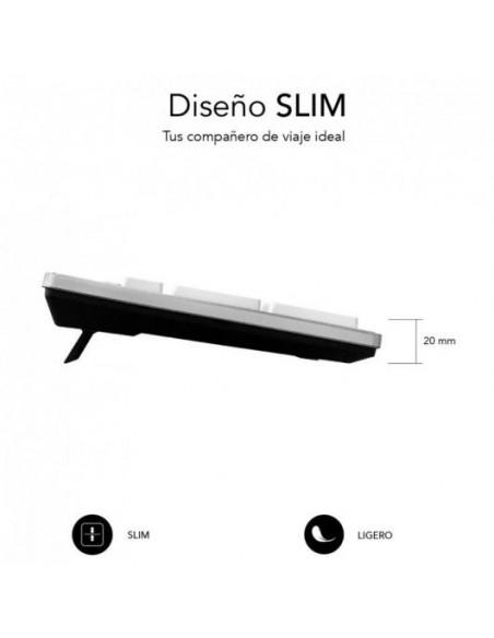 Subblim Ergo Silent Flat Teclado USB Blanco/Plata
